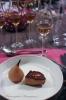 Foie Gras de canard fumé au foin et poêlé, poire pochée au whisky et Glendronach Peated 46%