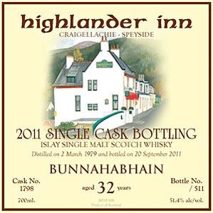 Un Bunnahabhain embouteillage Highlander Inn 2011