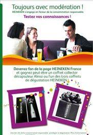 Heineken «Toujours avec modération !» sur Facebook