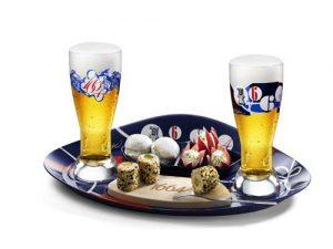 Plateau 1664 et verres de bière