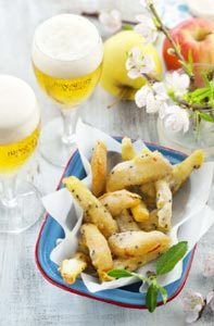 Tempura de pommes et bière de printemps
