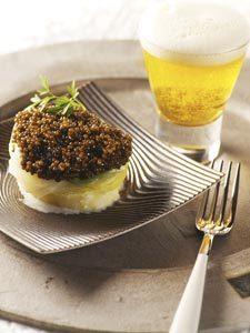 Bouchée poireau-pomme de terre au caviar, sauce crème et bière ©Brasseurs de France
