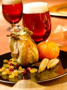 Cailles rôties en habit d'or aux clémentines caramélisées et bière de Noël