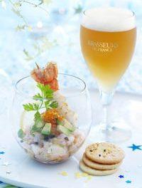 Tartare de langoustines à savourer avec une bière de Noël blonde