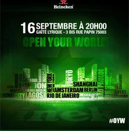 Gagnez votre entrée à la soirée City Edition Open Your World Heineken