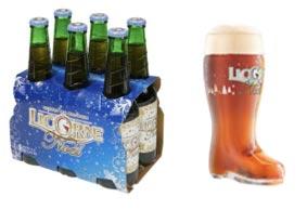 La bière Licorne de Noel et son verre botte