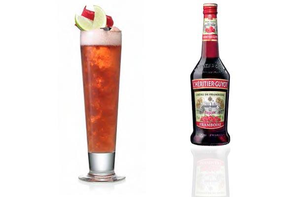 Iced Raspberry, cocktail à la bière blanche et à la crème de framboise