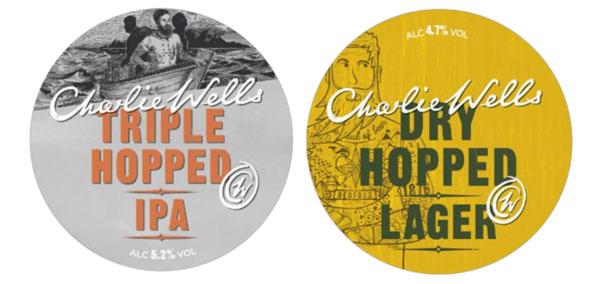 Les étiquettes de la Charlie Wells Triple Hopper IPA et de la  Charlie Wells Dry Hopped Lager