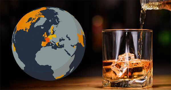 Globe interactif Bonial sur la consommation de whisky dans le monde
