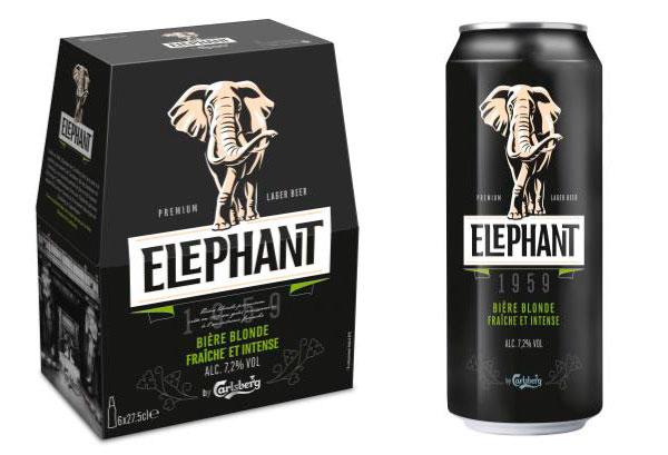 Pack et boite 50cl de bière Eléphant by Carlsberg