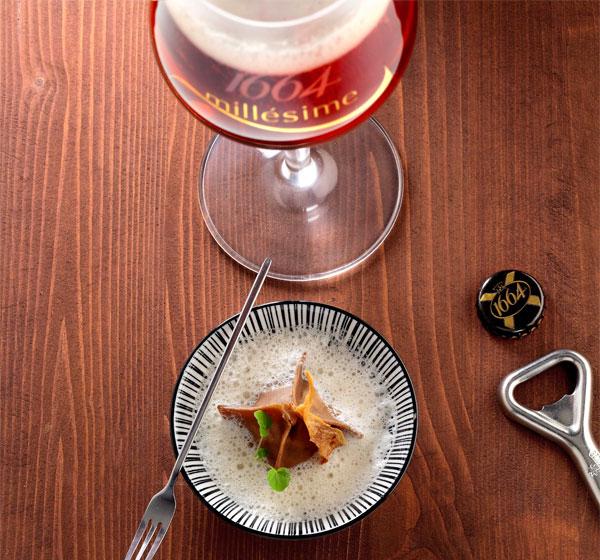 Cèpes du Médoc en raviole de châtaignes, sauce crémeuse de champignons et 1664 Millesime