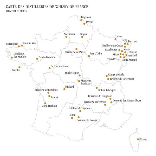 Carte des distilleries françaises de whisky établie en décembre 2015 par Philippe Jugé, Président de la Fédération du Whisky de France