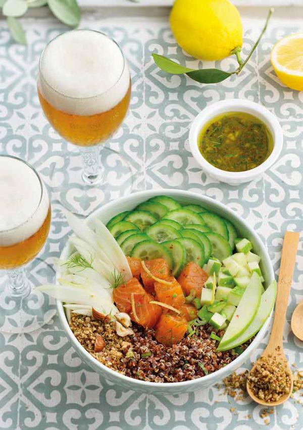 Buddha Bowls Quinoa Saumon avec une bière de Printemps