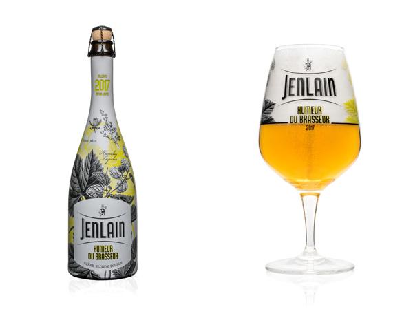 La bouteille et le verre de l'édition 2017 de la Jenlain Humeur du Brasseur 2017