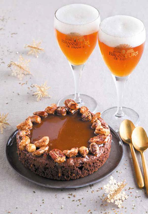 Brownie Caramel de Christophe Felder et bière de Noël