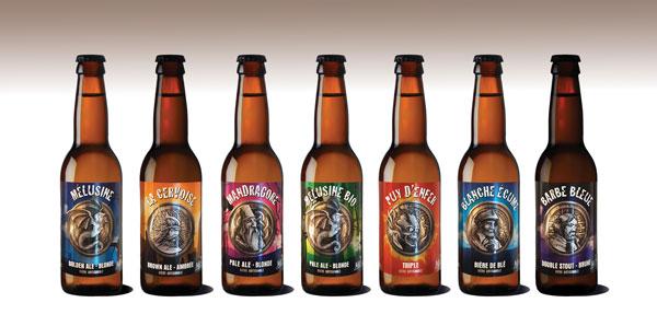 La gamme des bières relogées de la brasserie Mélusine