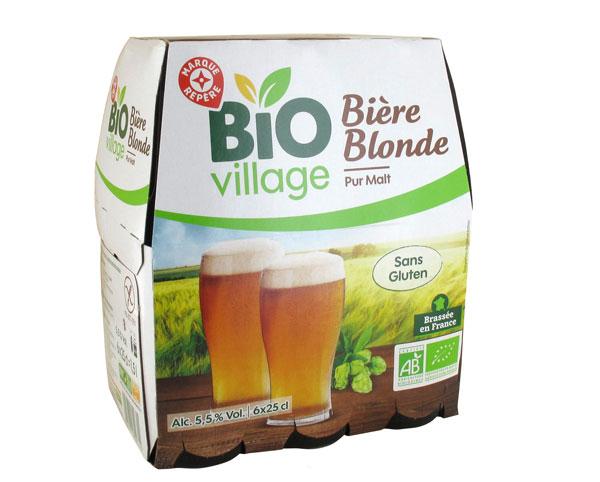 La bière blonde bio sans gluten Bio Village d'E.leclerc