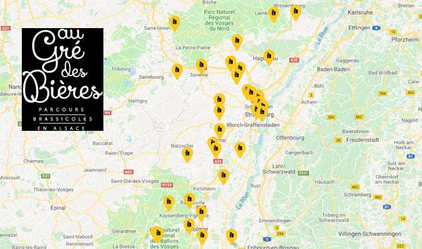 Copie d'écran du site Au Gré des Bières en Alsace