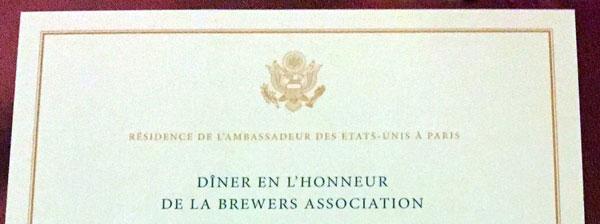 Menu dîner Brewers Association à la résidence de l'Ambassade des USA à Paris