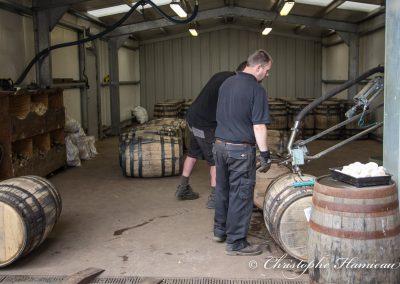 The BenRiach Distillery. Remplissage des fûts