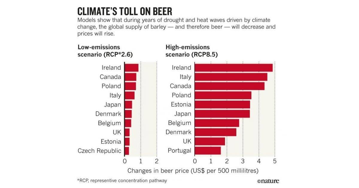 Evolution du prix de la bière en fonction de celle du climat