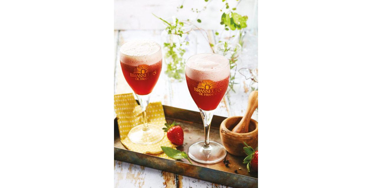 Cocktail Bière de Printemps, Fraises, Poivre et Basilic