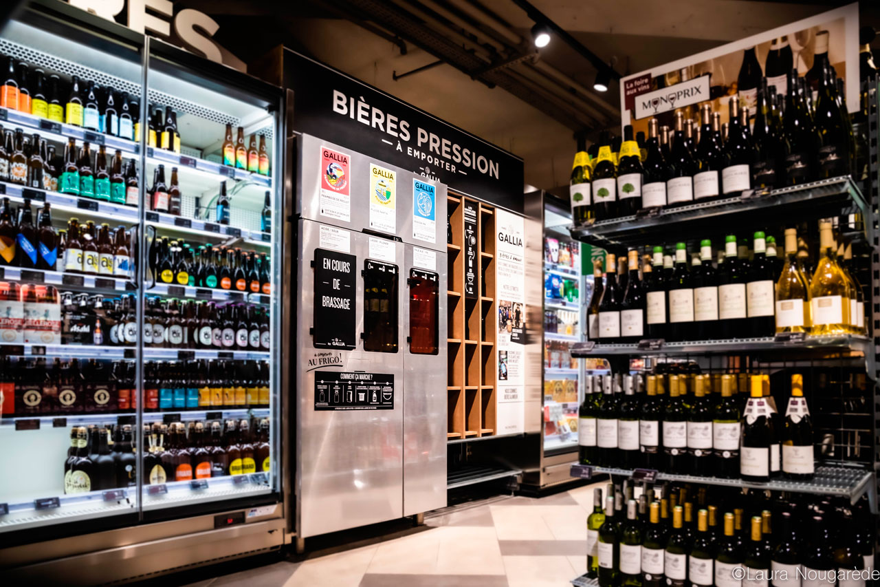 Machine bière pression Gallia au Monoprix Montparnasse