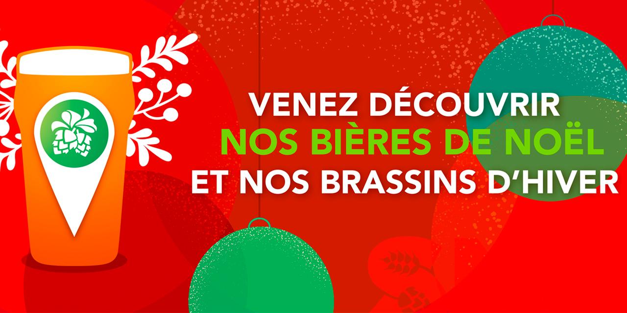 Une carte de France des brasseurs artisans proposant de la Bière de Noël