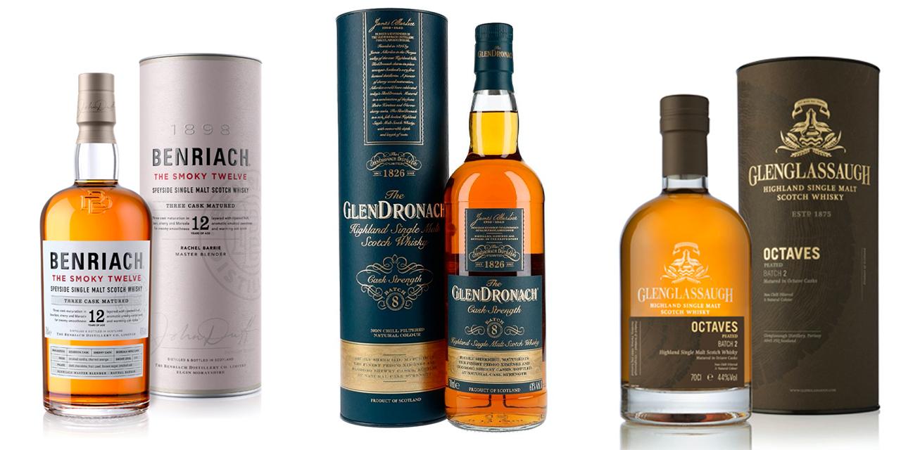 3 jolis flacons chez BenRiach, GlenDronach et Glenglassaugh