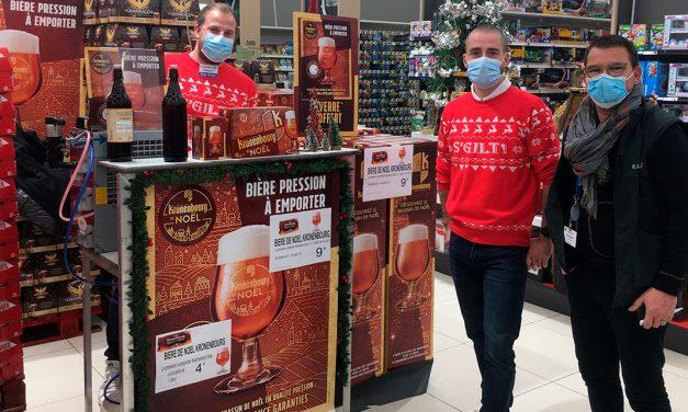 Kronenbourg de Noël servie à la pression en magasin