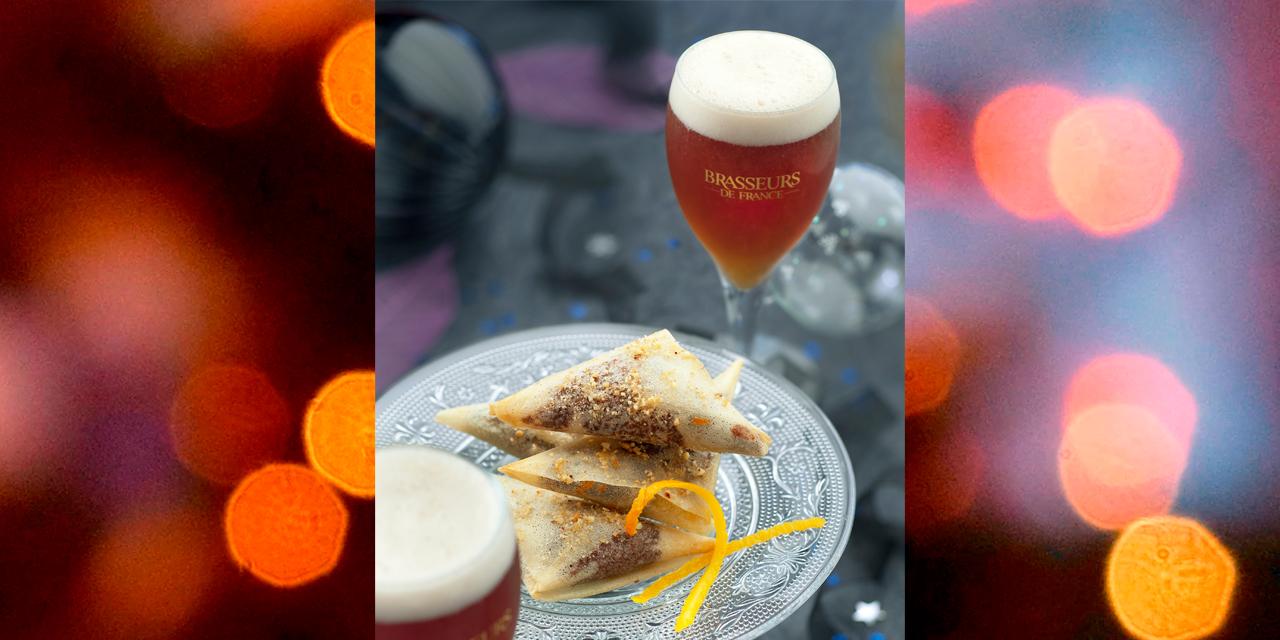 Samoussas choco-orange et bière de Noël