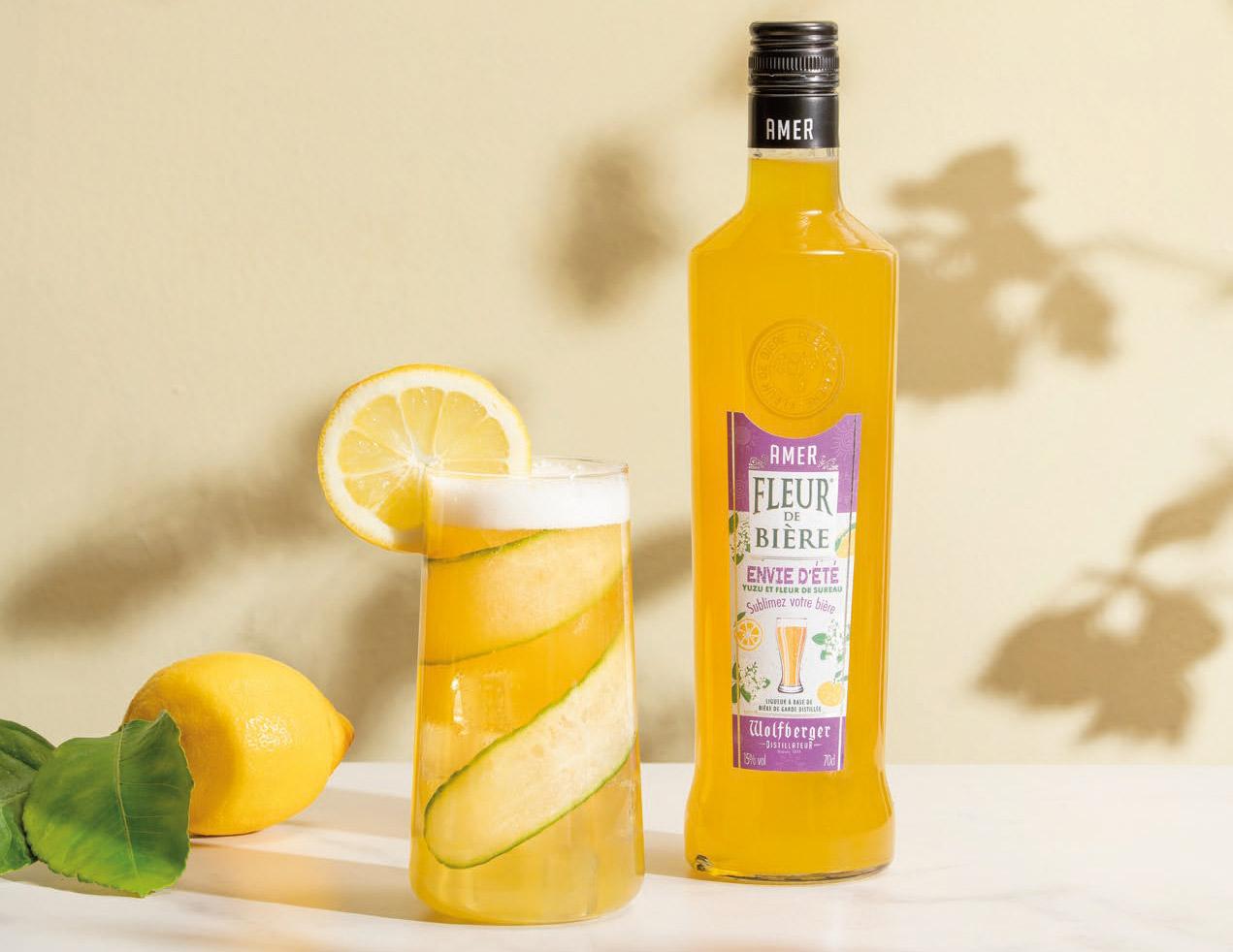 Cocktail à la bière blanche et à l'Amer Fleur de Bière Envie d'été de Wolfberger