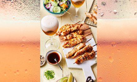 Yakitori de poulet mariné à la bière blonde