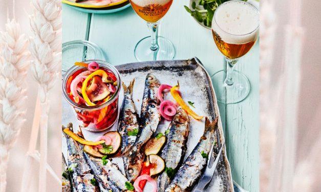 Sardines à la plancha et pickles de légumes à la bière